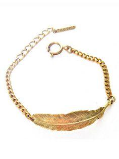 Bracelet - feather - Golden