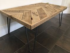 Reclaimed Wood Chevron Coffee Table with Hairpin Legs
