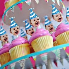Birthday Cupcakes with cutout baby head picture