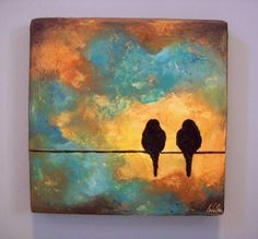 Items similar to Custom Birds on a Wire Sculpted Painting - Sweet Wedding Gift Giving Size on Etsy