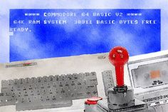 64 Fanboy is a unique digital watercolour from M.A, a gamer since the beginning of pixels! Featuring the legendary Commodore 64 microcomputer, tape deck and joystick against the blue skies desktop of this once mighty system. This is a must have for retro computer collectors and fans of computer and video games. This piece is also a part of M.A's retro computer collection.