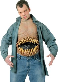 Hunger Pains Chest Piece - All Latex Chest Piece with Huge Gaping Mouth and Oversized Teeth. Attaches with Velcro At Waist and Neck. Homemade Halloween Costumes, Scary Costumes, Halloween Costumes For Girls, Girl Costumes, Adult Costumes, Halloween Ideas, Horror Costume, Chest Piece, Halloween Accessories