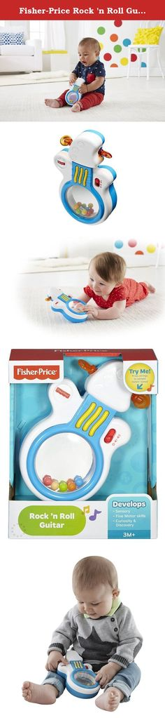 """Fisher-Price Rock 'n Roll Guitar. Your mini rock star has two ways to jam to rockin' music! Lay the Fisher-Price Rock 'n Roll Guitar on its roly-poly base for younger babies to spin & activate fun tunes during tummy time. For older rockers, stand the toy guitar on its base to bat at for rockin' motion & music - or your little one can just press the strings. Plus, there's a big mirror to look into, tuners to spin, and a volume control that puts the """"sound guys"""" (aka mom & dad) in charge of..."""