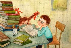 Book illustration: a boy & a girl reading
