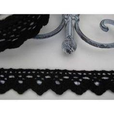 Häkelspitze selbstklebend schwarz