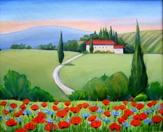 """""""Italian Landscape with Poppies""""Oil Painting , painting by artist Meltem Kilic"""