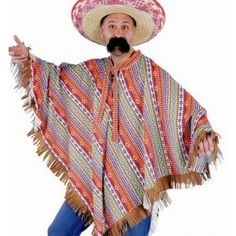 Déguisement poncho mexicain adulte luxe