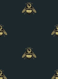 Napoleon Bee || Timorous Beasties || black wallpaper velvet
