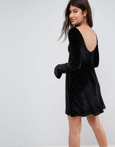 #ASOS - #ASOS ASOS Studded Velvet Scoop Back Skater Dress with Frill Cuffs - Black - AdoreWe.com