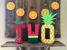 Twotti Fruity Stand Up Paper Mache Letters- Photo Prop, Two, Second Birthday, Summer, Luau - Birthday Party 4 2nd Birthday Party For Girl, Spongebob Birthday Party, Fruit Birthday, Second Birthday Ideas, Girl Birthday Themes, Summer Birthday, Luau Birthday Parties, Spongebob Party Ideas, Birthday Letters