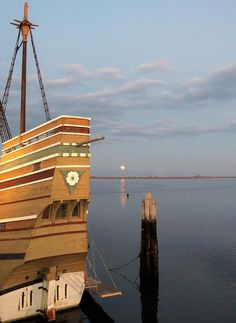 ✮ Mayflower II with the moon in the distance shining on Plymouth harbor, Massachusetts