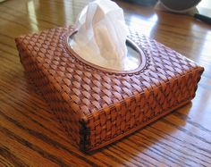 Leather tissue box c