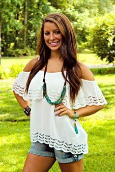Voom: Celeste Babydoll Top - White $69.99 #SouthernFriedChics