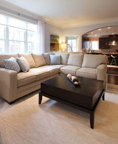 In the #family #room of a Northern Virginia #home, designer Paola McDonald chose a Bassett s  Colors, sofa