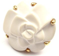 CHANEL Camelia White Agate Yellow Gold Flower Ring   From a unique collection of vintage cocktail rings at http://www.1stdibs.com/jewelry/rings/cocktail-rings/