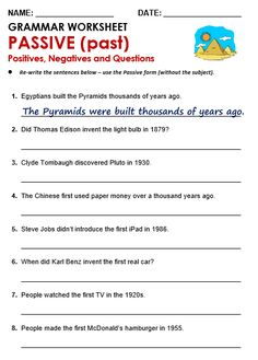 Active Passive Voice Worksheet Unique Passive All Things Grammar English Grammar Exercises, Grammar Quiz, Grammar Practice, Teaching English Grammar, English Grammar Worksheets, French Language Learning, Grammar Lessons, English Vocabulary, Writing Lessons
