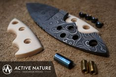 Neck Knife Ekto with removable handle scales made from Alabama Damascus. Neck Knife, Handmade Knives, Damascus, Alabama, Handle, Damask, Hardware Pulls, Custom Knives
