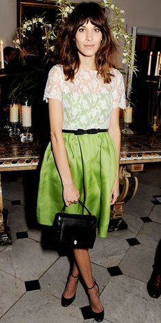 Chung celebrated the launch of the Valentino: Master Of Couture exhibition in the label's pastel dress, leather heels and a black Anya Hindmarch bag.