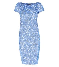 Blue Lace Jacquard Pencil Dress from uk new look