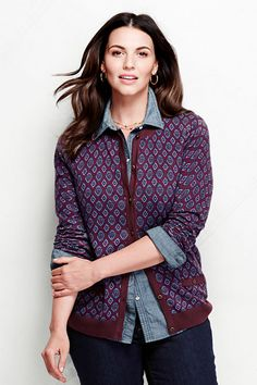 Women's Supima Print Pocket Cardigan Sweater from Lands' End