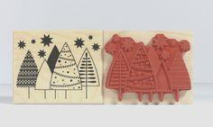 Weihnachtsstempel - Stempel 5 Weihnachtsbäume gemustert - ein Designerstück von Frau_Zwerg bei DaWanda