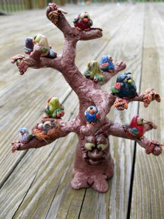 Birds in a Tree Polymer Clay Sculpture by mirandascritters on Etsy, $50.00