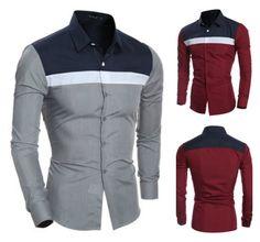 Camisa Moderna Casual/Social - Mix Colors - em Vinho e Cinza