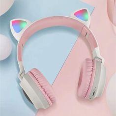 Cat Headphones, Wireless Noise Cancelling Headphones, Green Led, Blue Green, Gamer Gifts, Headset, Bass, Gadgets, Music