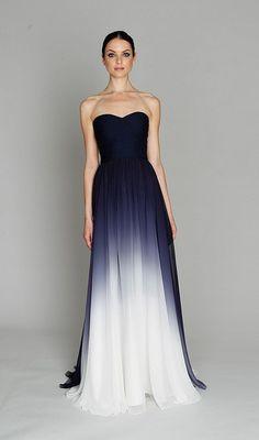 Monique Lhuillier gown in navy ombre