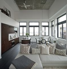 Suzie: The Cross Decor & Design - Beautiful loft design with ebony matte wood floor, tan linen ...