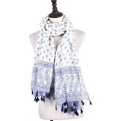Blue White Paisley Scarves | Shawl & Wraps //Price: $19.99 & FREE Shipping //     #scarf #scarfscalling #wrap #photooftheday #beautiful #art #love #fashionblogger #picoftheday #la #newyork #nyc #style #jewelry #beauty #fashionista  #stylish #wearableart #fashionart #giftideas