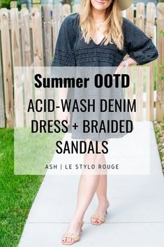 Acid-Wash Denim Dress and a Boater Hat for KC Homes & Style. | LSR Braided Sandals, Boater Hat, Party Fashion, Fashion Group, Little Fashion, Instagram Outfits, Hey Girl, House And Home Magazine, The Girl Who