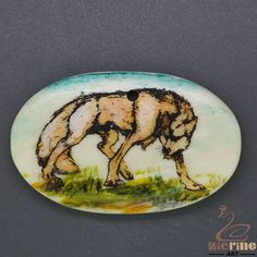 Nice  Scrimshaw Pendant  Carved Hand Painted Wolf  Stamp ZL201100 #ZL #Pendant