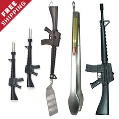 """The M-16 BBQ Tool Set is a grill-master's dream!  It's all about the M-16!! With this BBQ Tool Set you will receive the new M-16 BBQ Lighter, 18"""" M-16 Rifle Spatula, 18"""" Bullet BBQ Tongs,and the M-16 Corn Holders,  all made of food grade stainless steel and for your convenience dishwasher safe.The M-16 Rifle BBQ Spatula has a very original design with detailed features of the M-16 Rifle and little bullet cut outs on the spatula. Definitely """"Another Gibson Original"""" winner."""
