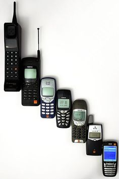 Mobile Phone Evolution, from hand held brick to lightweight discreet smart phone. I remember the HUGE ones with almost a car battery attached!
