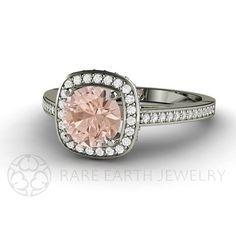 Morganite Ring Morganite Engagement Ring Diamond Halo by RareEarth, $1435.00
