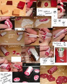 How to make meat with Sculpey by ~kayanah on deviantART follow the link for the instructions to go with pictures.