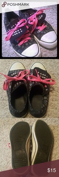 Studded skeleton sneakers Converse inspired shoes. Size 7. Excellent preloved condition! Has a double tongue with square studs. Pink laces come w them! All they need is a cleaning with a magic eraser and they'll be like brand new! Shoes Sneakers