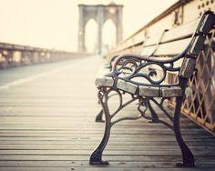 bench on the brooklyn bridge.  Irene Suchocki