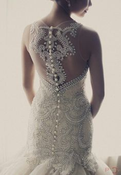 Veluz Reyes custom made wedding gown Intricate back detail Crystal Wedding Dresses, White Wedding Dresses, Prom Dresses, Bridal Gowns, Wedding Gowns, Lace Wedding, Mermaid Wedding, Backless Wedding, Elegant Wedding