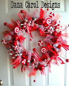 Peppermint Sticks & Lollipops Christmas Wreath. $72.00, via Etsy.  DIY project???