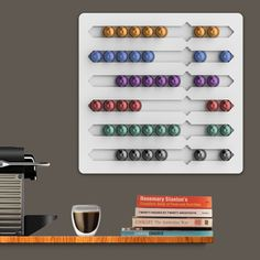 Nespresso wall display for the office, or for the home.  Coffee lovers rejoice!