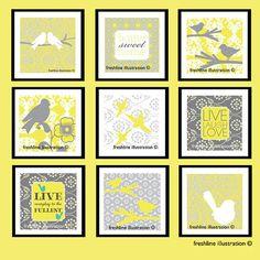 set of 9 prints, custom art prints, kitchen wall decor, funny kitchen art Kitchen Humor, Funny Kitchen, Kitchen Art Prints, Wal Art, Yellow Nursery, Mellow Yellow, Gray Yellow, Gray Color, Subway Art
