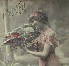 Vintage French Postcard - Woman Holding a Basket of Fish (Poisson D'Avril…