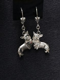 Sterling Silver Cardigan Welsh Corgi Earrings by Donna Pizarro from the Animal Whimsey Collection of Dog Jewelry by DonnaPizarroDesigns on Etsy https://www.etsy.com/listing/200399850/sterling-silver-cardigan-welsh-corgi