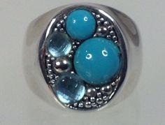 Michael Dawkins Sterling Silver Starry Night Turquoise Blue Topaz Ring Size 7 #MichaelDawkins #StarryNight