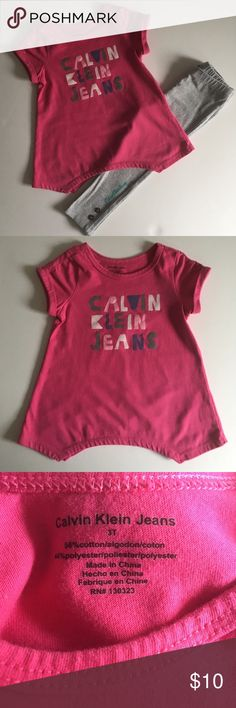 3T Calvin Klein Set 3T Calvin Klein Set comes in pink and gray with short sleeve top and gray leggings with button detail and Calvin Klein signature on the pant leg. Size: 3T 56% Cotton 44% Polyester. In excellent used condition without flaws or stains. Calvin Klein Matching Sets