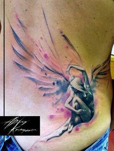 Another amazing angel tattoo by Adam Kremer. #InkedMagazine #angel #sidepiece #tattoo #tattoos #feminine #ink