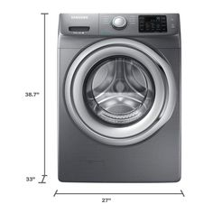 Samsung 4.2 cu. ft. Front Load Washer with Steam in Platinum, ENERGY STAR-WF42H5200AP - The Home Depot