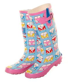 Campervan Gift - Pink Campervan Printed Adjustable Wellies, £15.95 (http://www.campervangift.co.uk/pink-campervan-printed-adjustable-wellies/)
